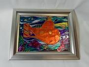 Витражная картина «Оранжевая подлодка»